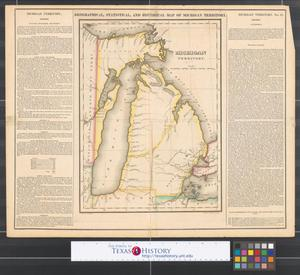 Primary view of Geographical, statistical, and historical map of Michigan Territory.