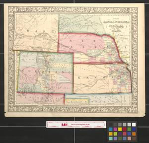 Primary view of object titled 'Map of Kansas, Nebraska and Colorado : showing also the eastern portion of Idaho.'.