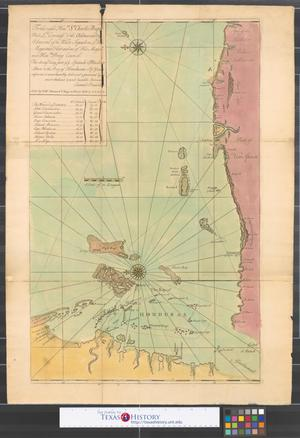 Primary view of object titled 'To the right honble. Sr. Charles Wager First Ld. Commissr. of the Admiralty, Admiral of the White Squadron of His Majesties Fleet and one of His Majeses. most honble. privy council. This draugt. being part of ye Spanish & Musketor Shore & the Bay of Honduras : wth. ye Islands adjacent, is most humbly dedicated & presented'.