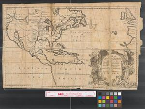 Primary view of object titled 'A map of a new world between New Mexico and the frozen sea newly discovered by Father Lewis Hennepin Missionary Recollect and Native of Aht in Hainault; dedicated to his majesty of Great Britain William III.'.