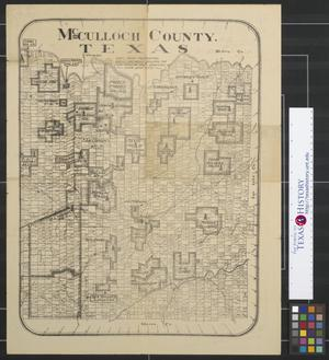 Primary view of object titled 'McCulloch County, Texas : dots show producing wells and wells drilling the Lohn Shallow Field, derricks show deep tests.'.