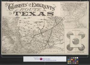 Primary view of object titled 'Colonists' and emigrants' route to Texas.'.