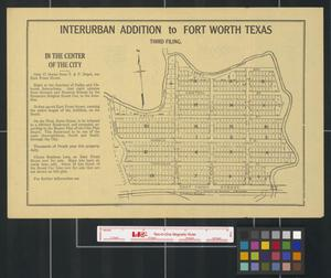 Primary view of object titled 'Interurban addition to Fort Worth, Texas: in the center of the city.'.