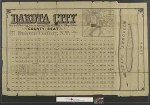 Primary view of object titled 'Dakota City being the East half of Sect. 8, Sect. 9 & the West half of Sect. 10, Township 28, N. Range 9 East: county seat, Dakota County, N. T.'.
