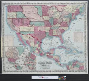 Primary view of object titled 'Map of the United States and Mexico.'.