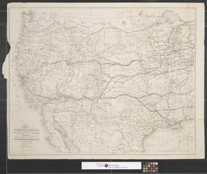 Primary view of object titled 'Map of the route of the Southern Continental R.R. with connections from Kansas City, Mo., Ft. Smith, Ark. and Shreveport, La.: giving a general view of recent surveys of the Kansas Pacific Railway Co. across the continent.'.