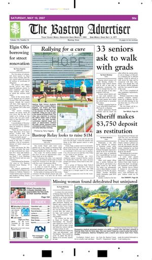 Primary view of object titled 'The Bastrop Advertiser (Bastrop, Tex.), Vol. 154, No. 24, Ed. 1 Saturday, May 19, 2007'.
