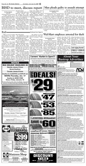 Primary view of object titled 'The Bastrop Advertiser (Bastrop, Tex.), Vol. [154], No. [92], Ed. 1 Saturday, January 12, 2008'.