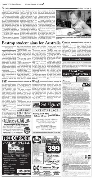 Primary view of object titled 'The Bastrop Advertiser (Bastrop, Tex.), Vol. [154], No. [96], Ed. 1 Saturday, January 26, 2008'.