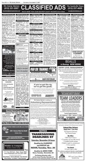 Primary view of object titled 'The Bastrop Advertiser (Bastrop, Tex.), Vol. [154], No. [76], Ed. 1 Saturday, November 17, 2007'.