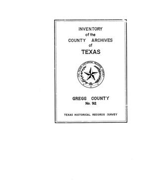 Primary view of object titled 'Inventory of the county archives of Texas : Gregg County, no. 92'.