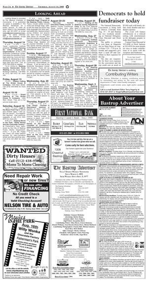Primary view of object titled 'The Bastrop Advertiser (Bastrop, Tex.), Vol. [155], No. [49], Ed. 1 Thursday, August 14, 2008'.