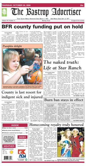 Primary view of object titled 'The Bastrop Advertiser (Bastrop, Tex.), Vol. 155, No. 71, Ed. 1 Thursday, October 30, 2008'.