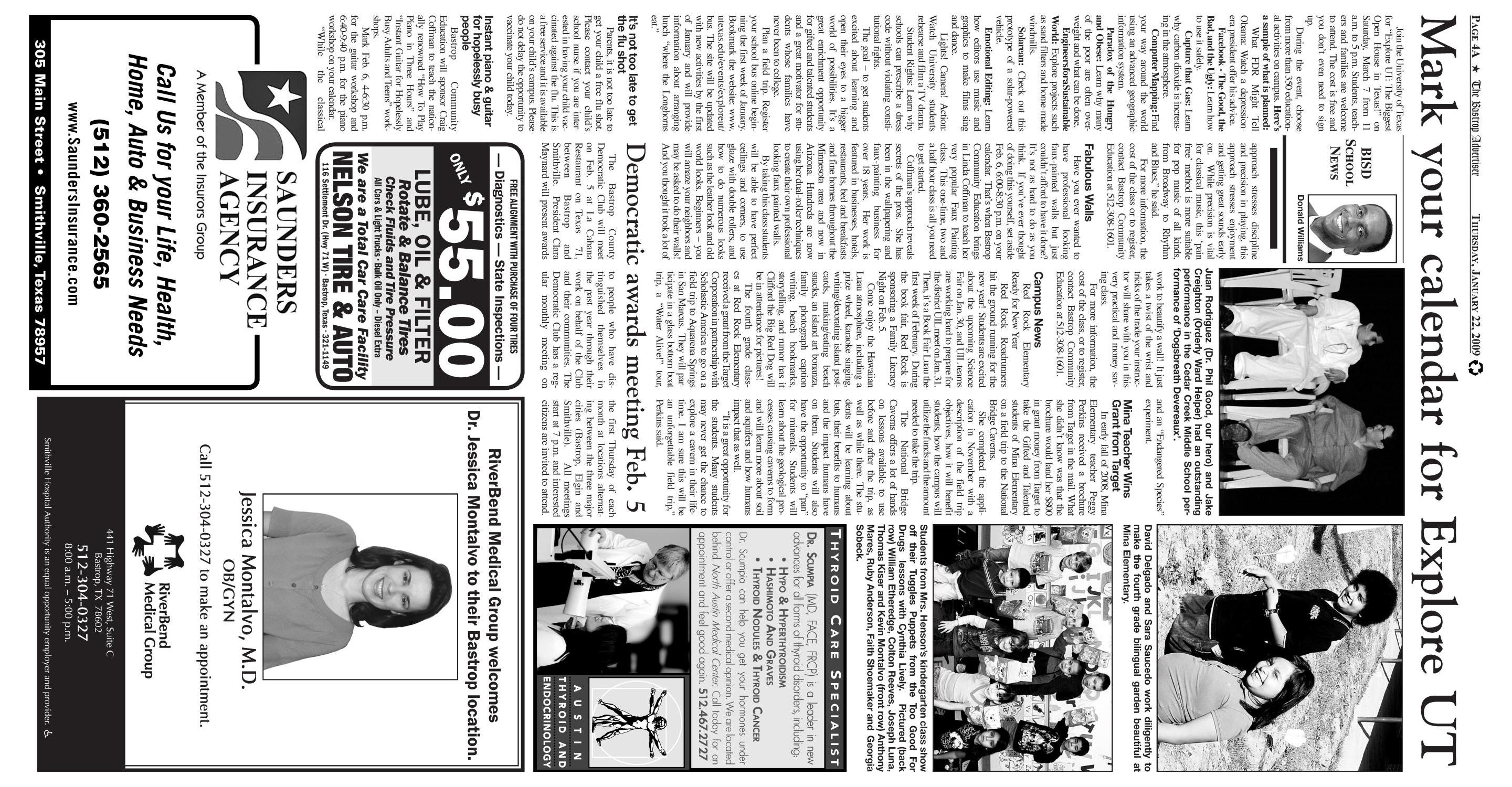 The Bastrop Advertiser (Bastrop, Tex.), Vol. 155, No. 95, Ed. 1 Thursday, January 22, 2009                                                                                                      [Sequence #]: 4 of 13