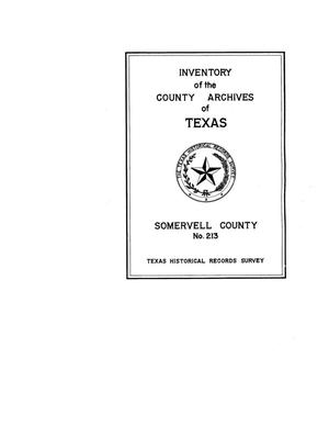 Primary view of object titled 'Inventory of the county archives of Texas : Somervell County, no. 213'.