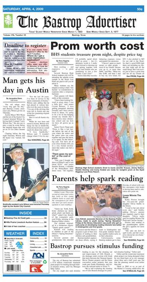 Primary view of object titled 'The Bastrop Advertiser (Bastrop, Tex.), Vol. 156, No. 10, Ed. 1 Saturday, April 4, 2009'.
