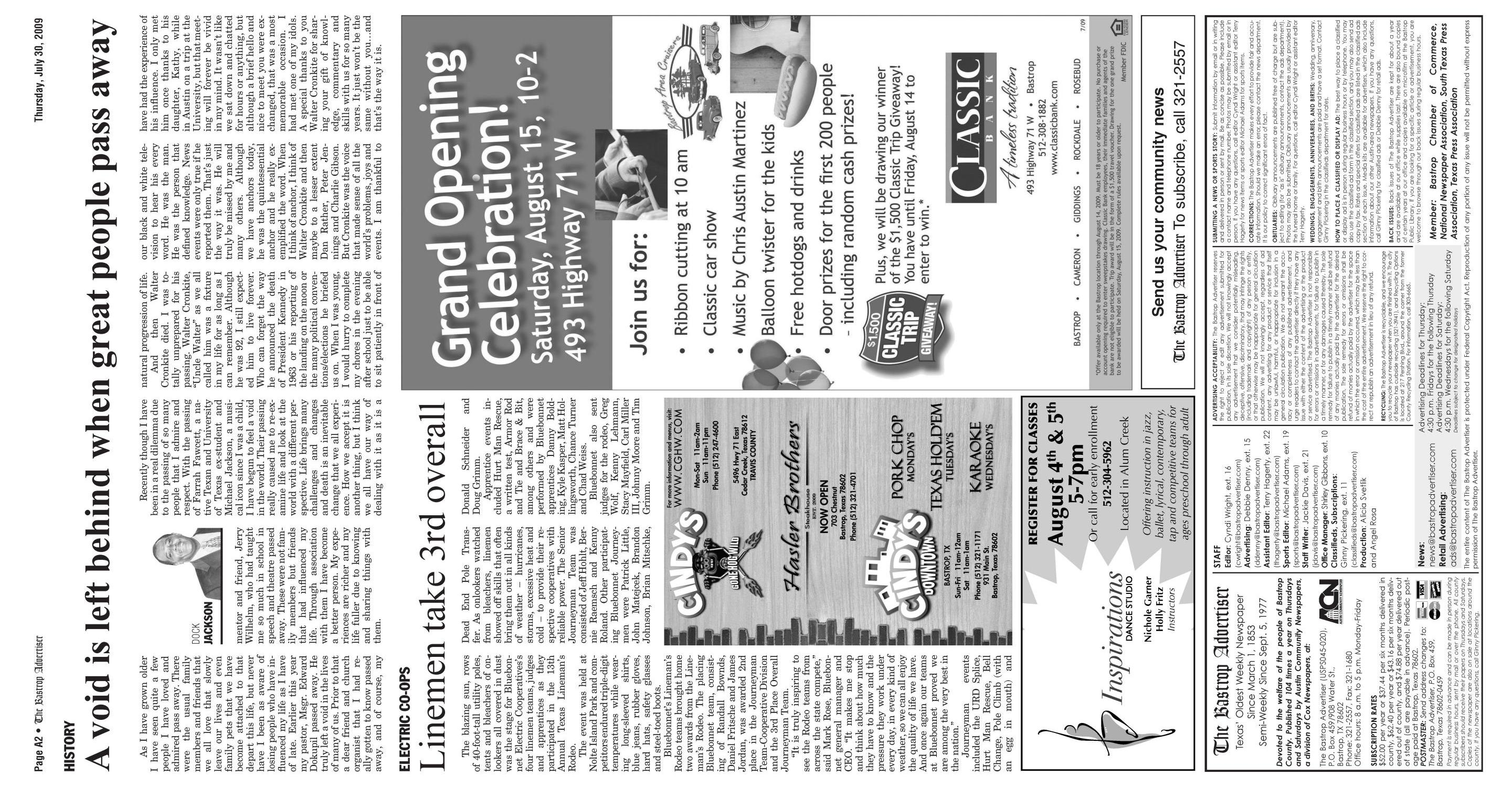 The Bastrop Advertiser (Bastrop, Tex.), Vol. 156, No. 43, Ed. 1 Thursday, July 30, 2009                                                                                                      [Sequence #]: 2 of 15