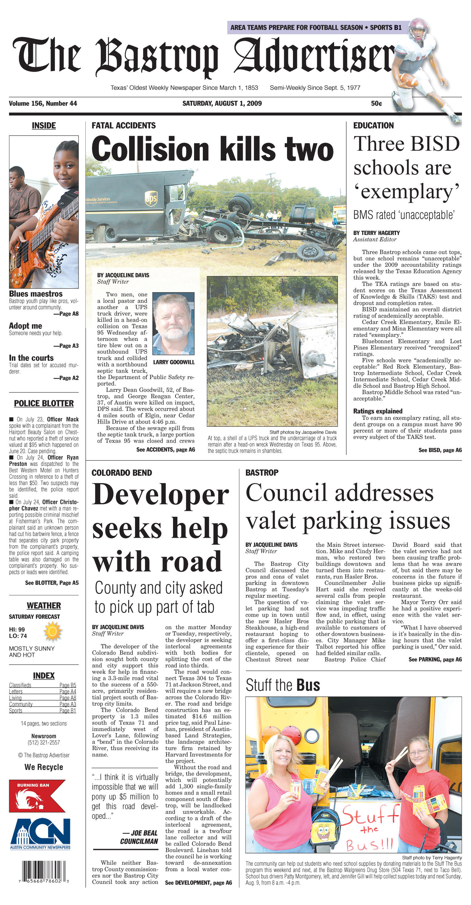The Bastrop Advertiser (Bastrop, Tex.), Vol. 156, No. 44, Ed. 1 Saturday, August 1, 2009                                                                                                      [Sequence #]: 1 of 12