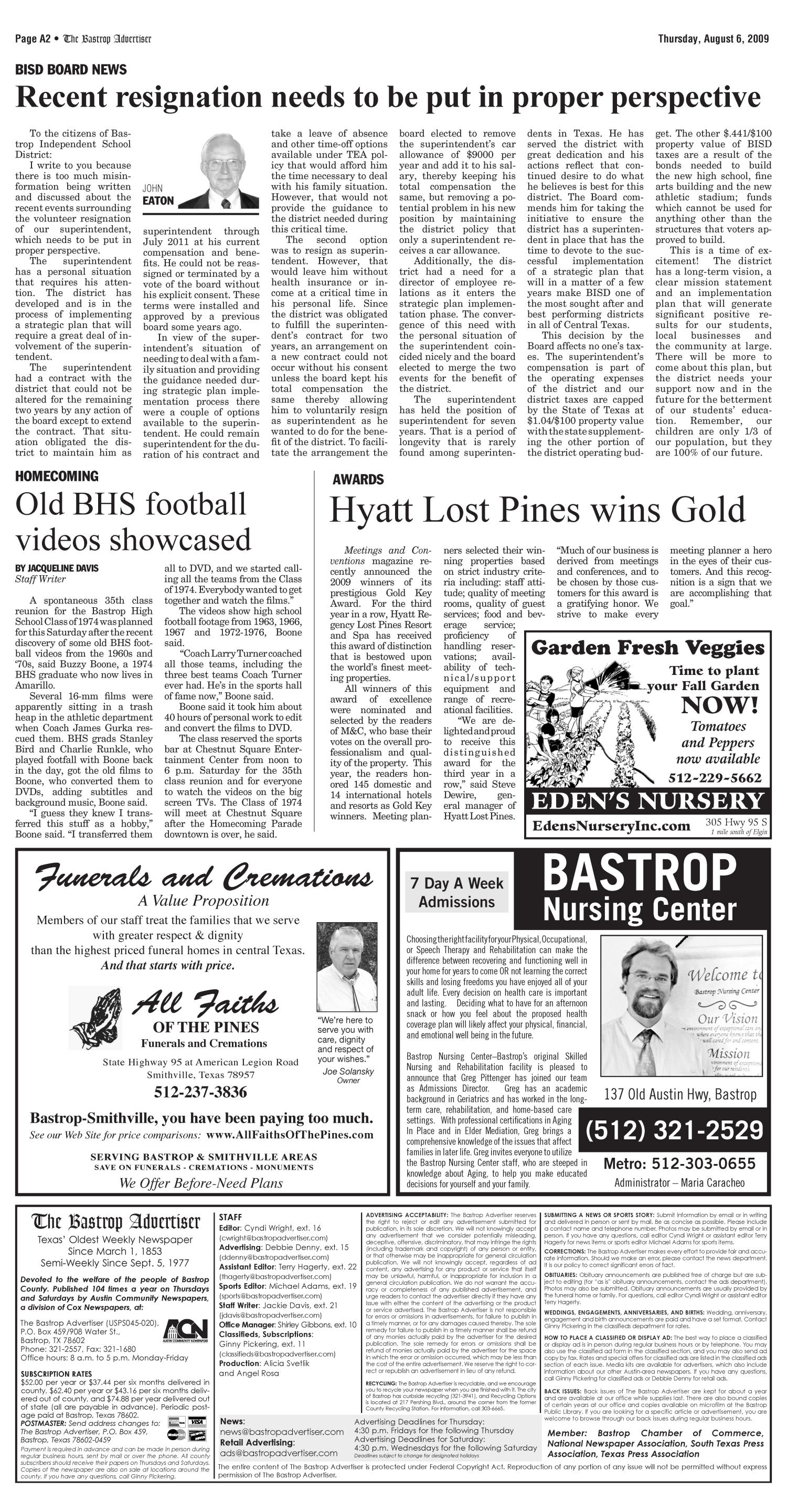 The Bastrop Advertiser (Bastrop, Tex.), Vol. 156, No. 45, Ed. 1 Thursday, August 6, 2009                                                                                                      [Sequence #]: 2 of 17