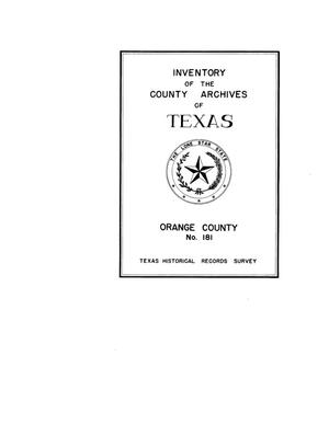 Primary view of object titled 'Inventory of the county archives of Texas : Orange County, no. 181'.