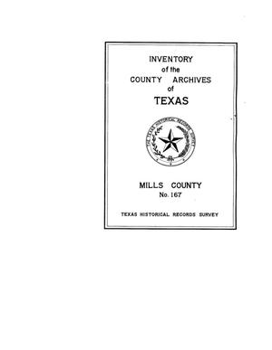 Primary view of object titled 'Inventory of the county archives of Texas : Mills County, no. 167'.