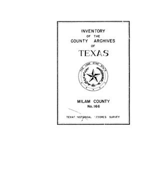 Primary view of object titled 'Inventory of the county archives of Texas : Milam County, no. 166'.