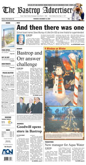 Primary view of object titled 'The Bastrop Advertiser (Bastrop, Tex.), Vol. 156, No. 81, Ed. 1 Thursday, December 10, 2009'.