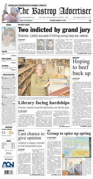 The Bastrop Advertiser (Bastrop, Tex.), Vol. 157, No. 8, Ed. 1 Saturday, March 27, 2010