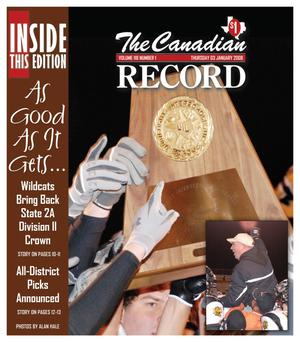 Primary view of object titled 'The Canadian Record (Canadian, Tex.), Vol. 118, No. 01, Ed. 1 Thursday, January 3, 2008'.