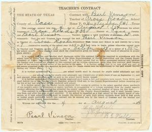 Primary view of object titled 'Teacher's Contract for Pearl Vinson, 1924'.