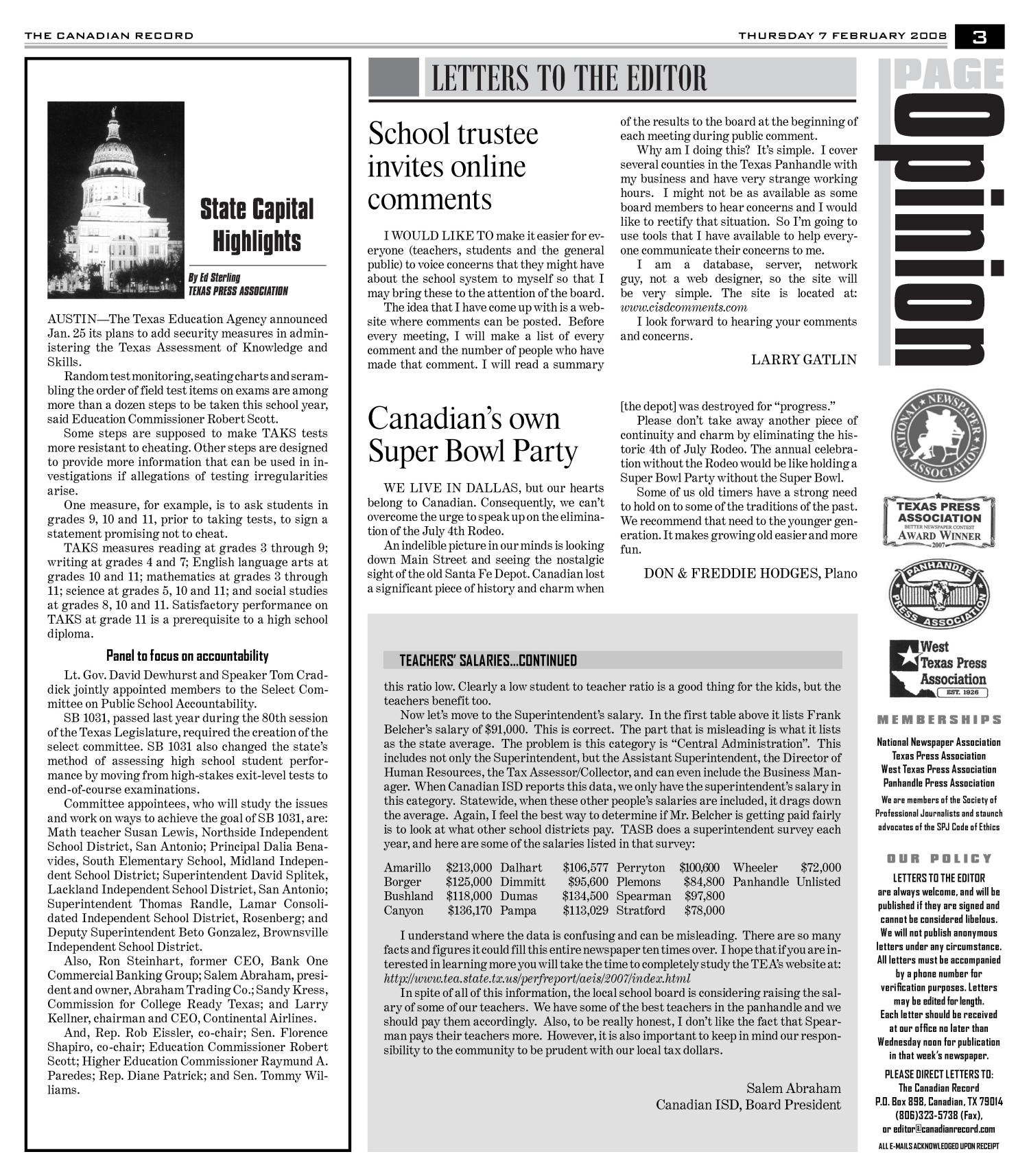 The Canadian Record (Canadian, Tex.), Vol. 118, No. 06, Ed. 1 Thursday, February 7, 2008                                                                                                      [Sequence #]: 3 of 36