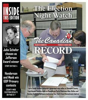 Primary view of object titled 'The Canadian Record (Canadian, Tex.), Vol. 118, No. 10, Ed. 1 Thursday, March 6, 2008'.
