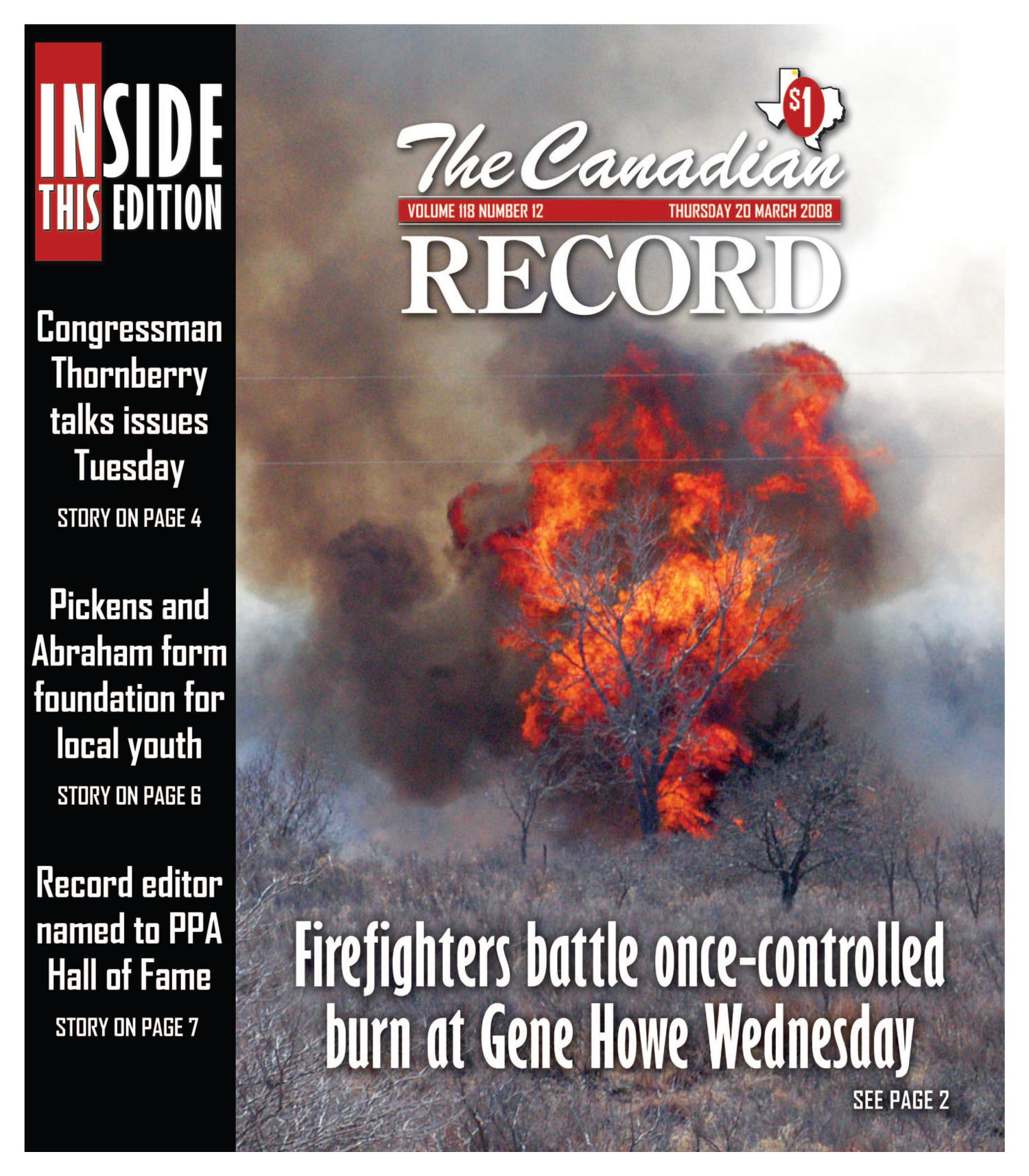 The Canadian Record (Canadian, Tex.), Vol. 118, No. 12, Ed. 1 Thursday, March 20, 2008                                                                                                      [Sequence #]: 1 of 35