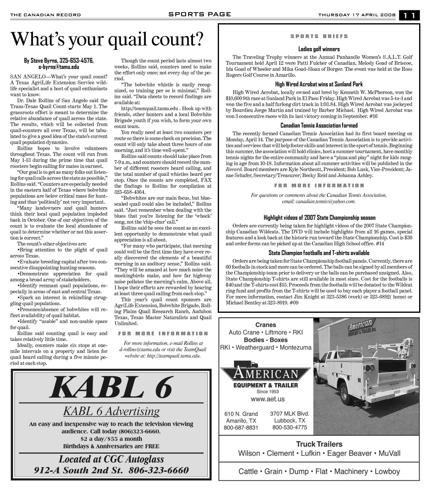 The Canadian Record (Canadian, Tex.), Vol. 118, No. 16, Ed. 1 Thursday, April 17, 2008                                                                                                      [Sequence #]: 11 of 36