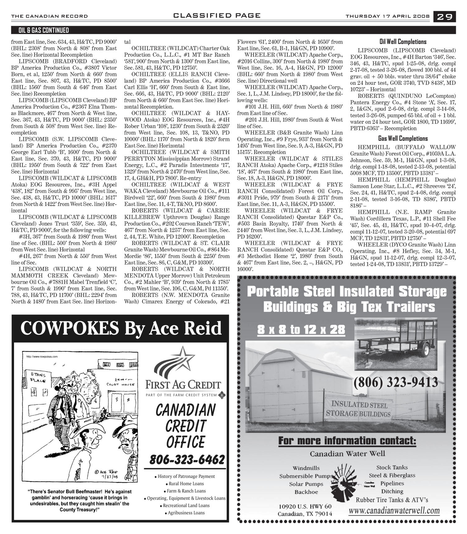 The Canadian Record (Canadian, Tex.), Vol. 118, No. 16, Ed. 1 Thursday, April 17, 2008                                                                                                      [Sequence #]: 29 of 36