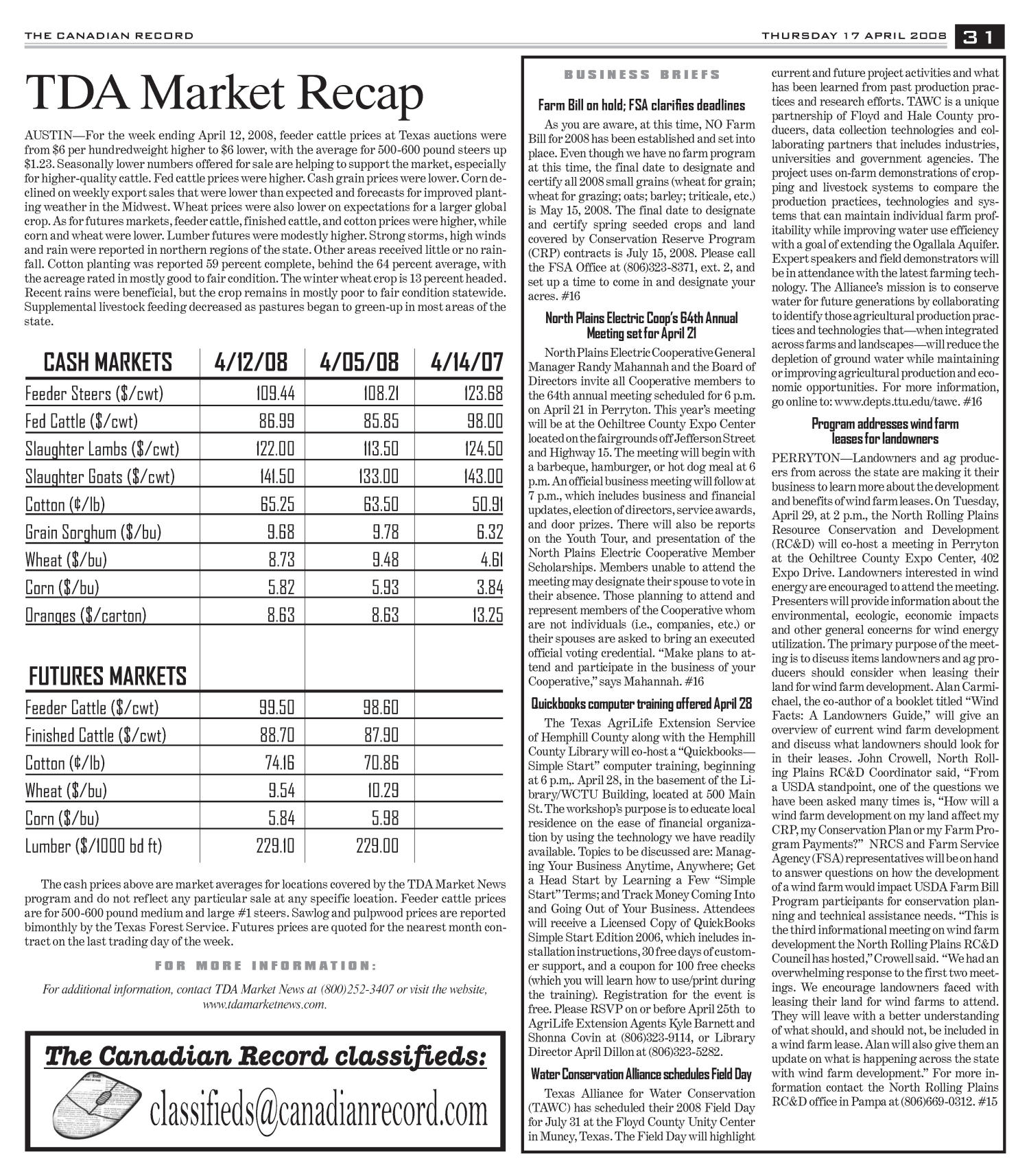 The Canadian Record (Canadian, Tex.), Vol. 118, No. 16, Ed. 1 Thursday, April 17, 2008                                                                                                      [Sequence #]: 31 of 36