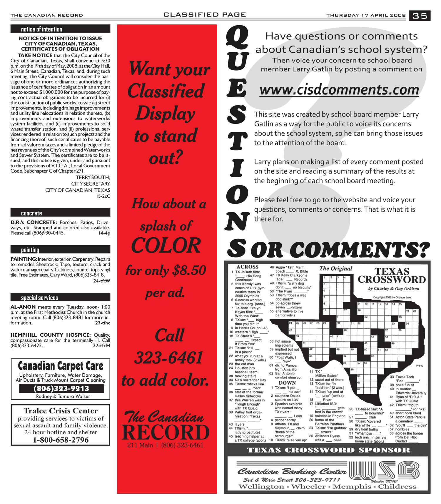 The Canadian Record (Canadian, Tex.), Vol. 118, No. 16, Ed. 1 Thursday, April 17, 2008                                                                                                      [Sequence #]: 35 of 36