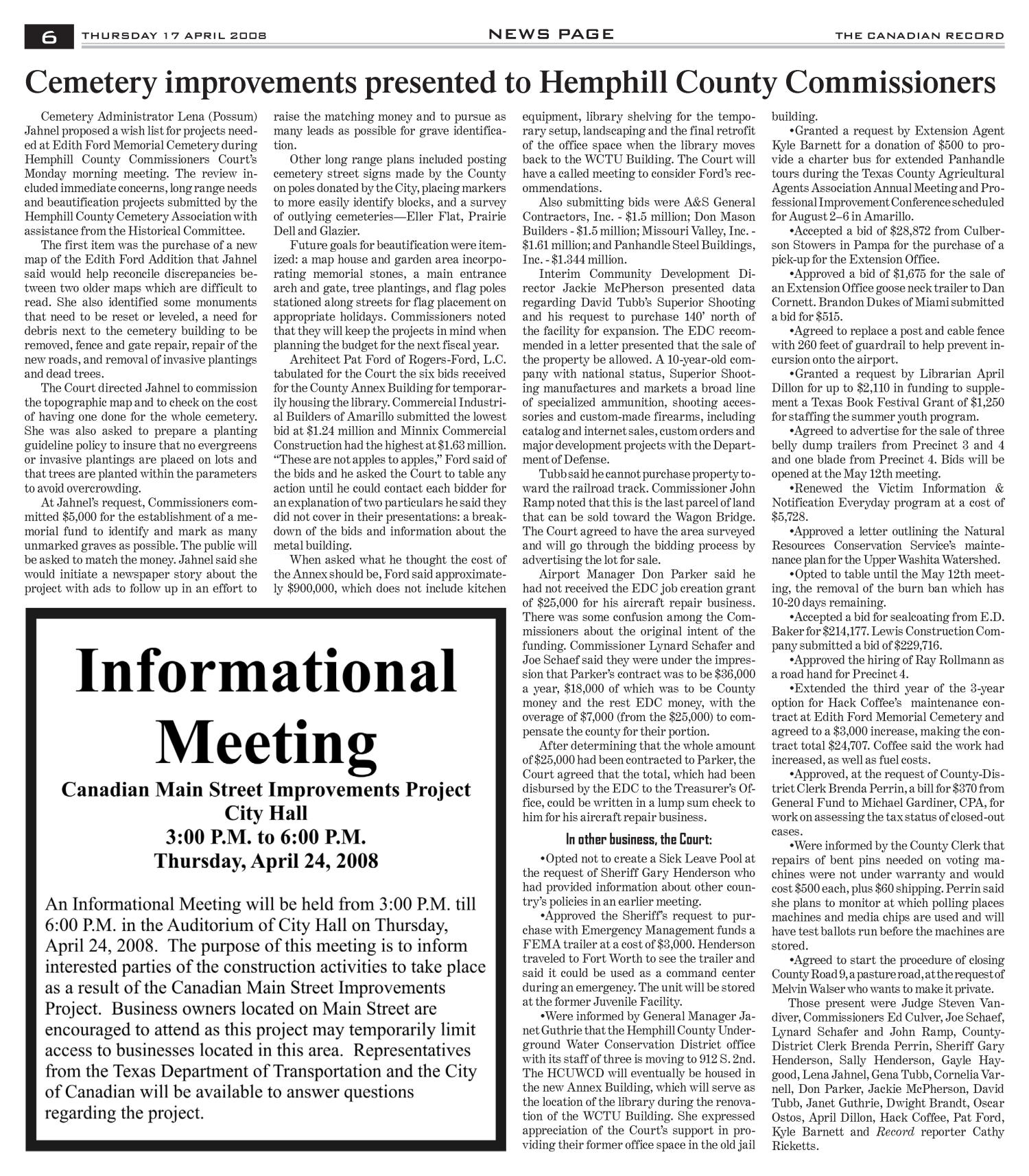 The Canadian Record (Canadian, Tex.), Vol. 118, No. 16, Ed. 1 Thursday, April 17, 2008                                                                                                      [Sequence #]: 6 of 36