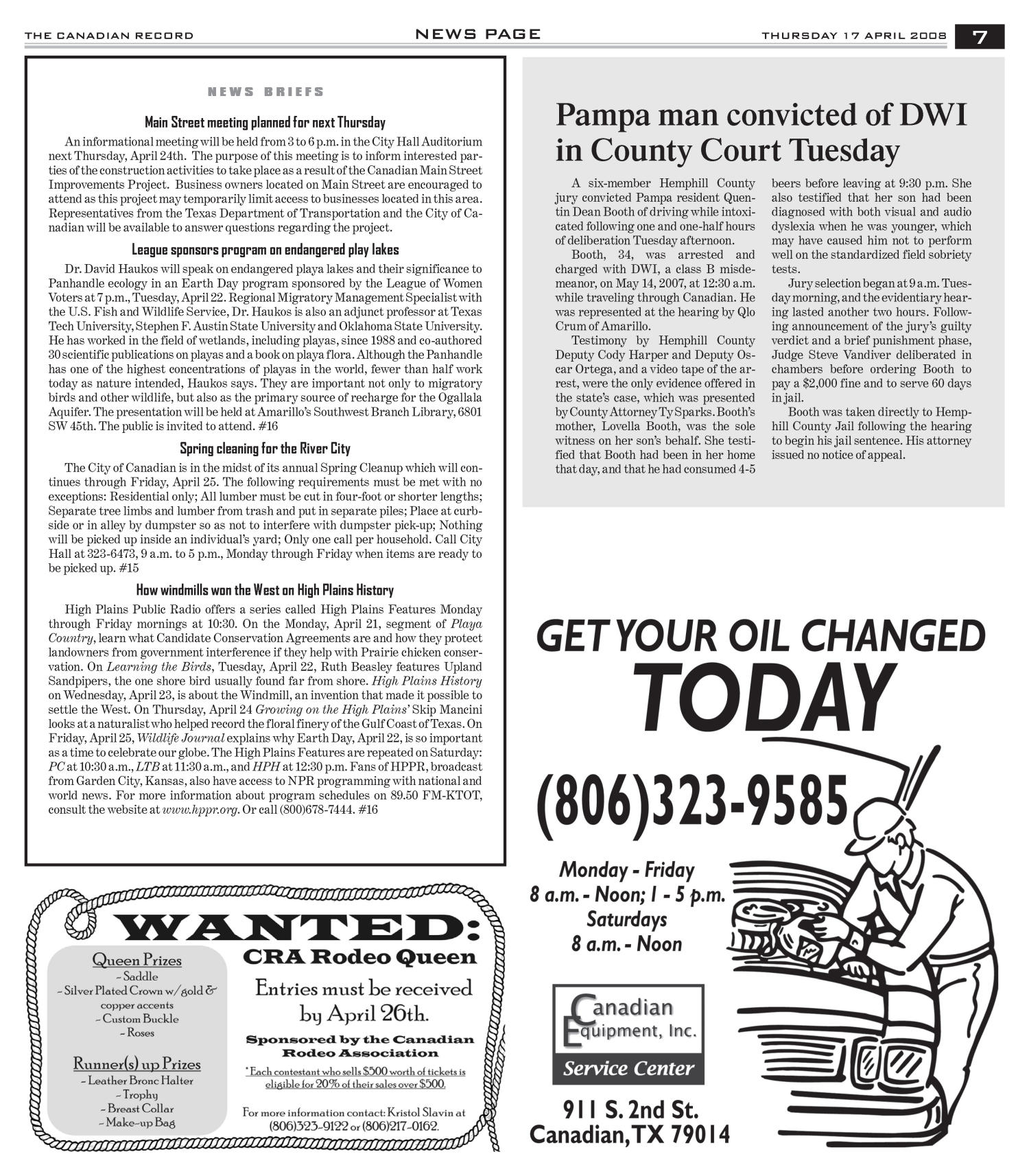 The Canadian Record (Canadian, Tex.), Vol. 118, No. 16, Ed. 1 Thursday, April 17, 2008                                                                                                      [Sequence #]: 7 of 36
