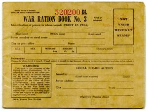 Primary view of object titled '[A. R. Saltsman's War Ration Book]'.