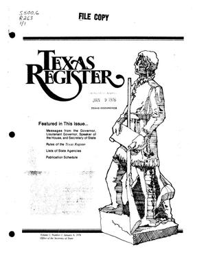 Primary view of object titled 'Texas Register, Volume 1, Number 1, Pages 1-38, January 6, 1976'.