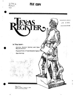 Primary view of object titled 'Texas Register, Volume 1, Number 3, Pages 87-115, January 13, 1976'.
