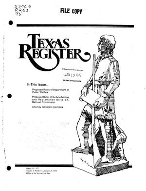 Texas Register, Volume 1, Number 5, Pages 143-171, January 20, 1976