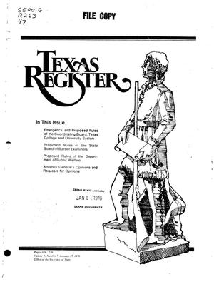 Primary view of object titled 'Texas Register, Volume 1, Number 7, Pages 189-238, January 27, 1976'.