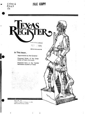 Primary view of object titled 'Texas Register, Volume 1, Number 9, Pages 269-290, February 3, 1976'.