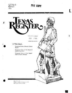 Primary view of object titled 'Texas Register, Volume 1, Number 10, Pages 292-323, February 6, 1976'.