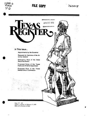 Primary view of object titled 'Texas Register, Volume 1, Number 13, Pages 377-400, February 17, 1976'.