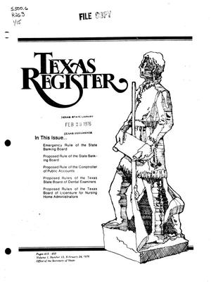 Primary view of object titled 'Texas Register, Volume 1, Number 15, Pages 415-450, February 24, 1976'.