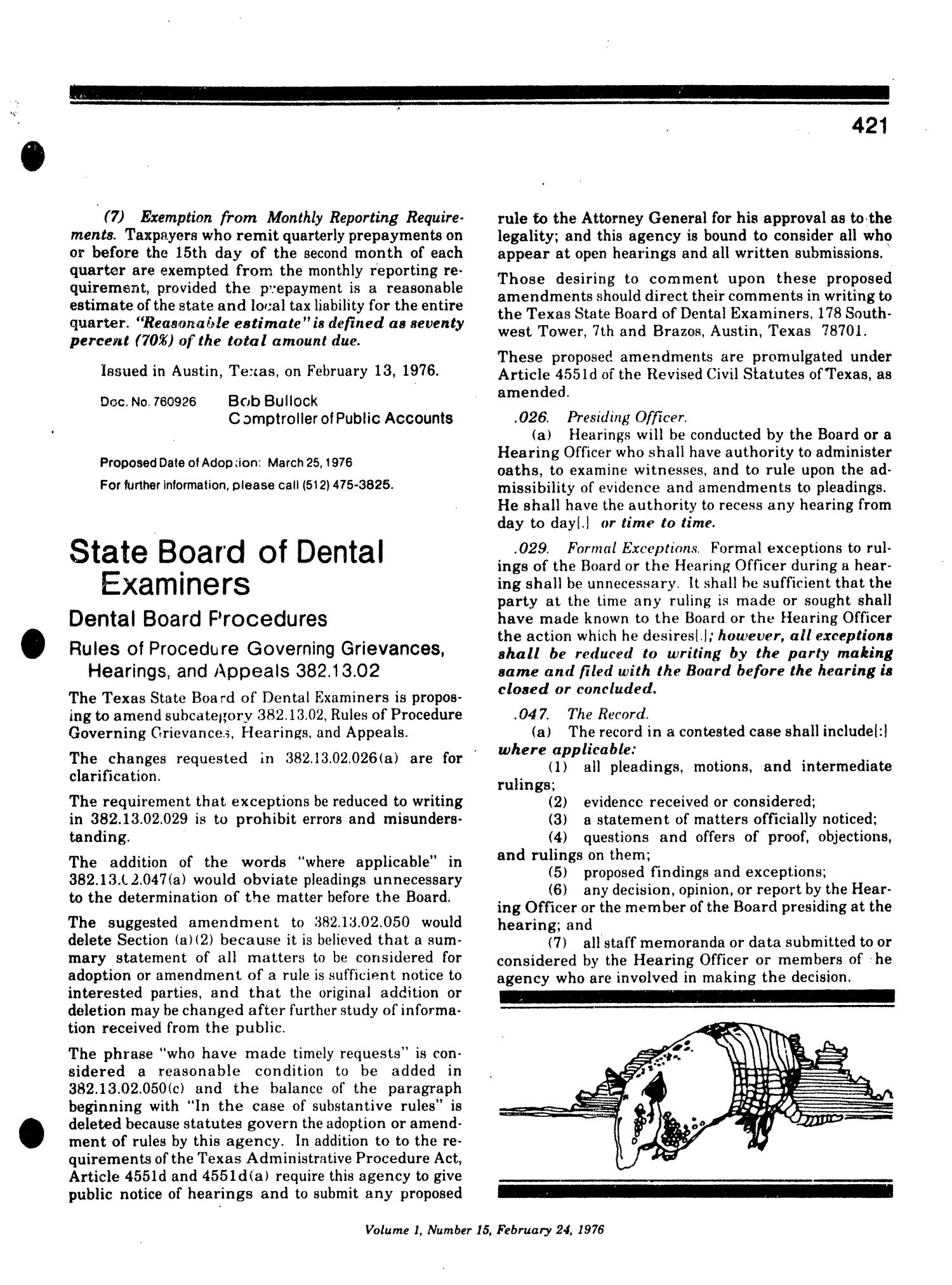 Texas Register, Volume 1, Number 15, Pages 415-450, February 24, 1976                                                                                                      421