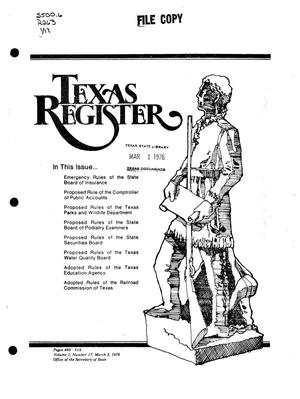 Primary view of object titled 'Texas Register, Volume 1, Number 17, Pages 465-514, March 2, 1976'.